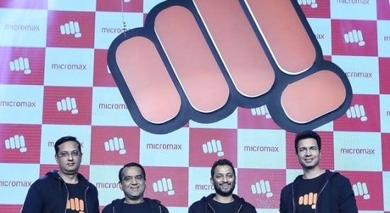 From-L-R-Sumeet-Kumar-Rajesh-Agarwal-Vikas-Jain-Rahul-Sharma-Co-Founders-at-Micromax-unveil-the-new-logo-620x400