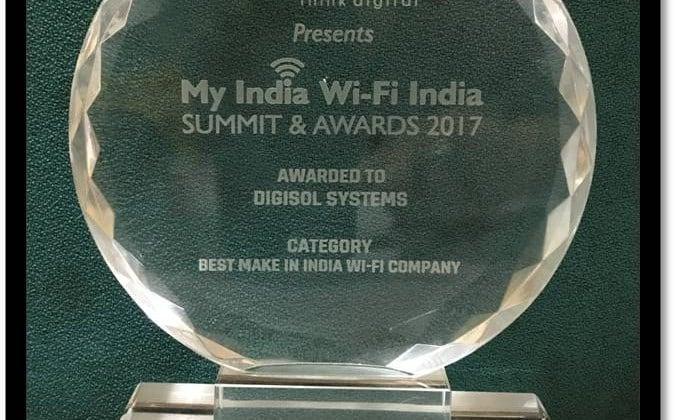 "DIGISOL wons ""Best Make In India Wi-Fi Company"" Award at My India Wi-Fi Summit & Awards"